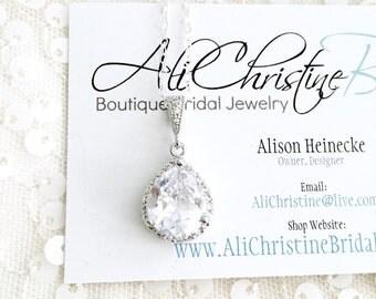 LUX CZ Rhinestone Pendant Necklace, Wedding Necklace,Teardrop Bridal Necklace, Cubic Zirconia Bridal Pendant, Rhinestone Jewelry