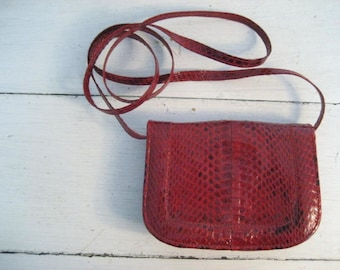 Vintage Red Snakeskin Small Crossbody Purse with Removeable Strap