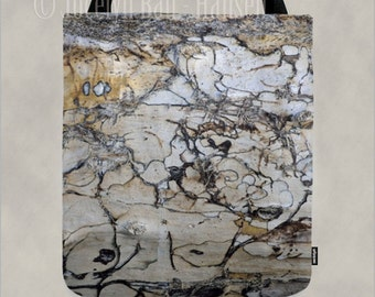 Shoulder Canvas Tote Bag in Natural Abstract Neutral Drift Wood Print