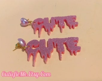 Pink Glitter Dripping Cute Earrings