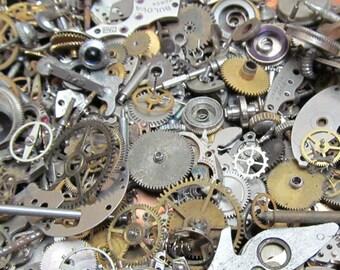 2 1/2 oz 70 grams Vintage Watch movements parts cogs gears Steampunk   Z 63