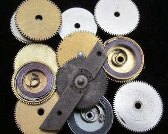 12 Antique Vintage Clock Watch Parts Cogs Gears Assemblage Steampunk Industrial GS 7