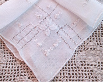 Embroidered Handkerchief White Linen Antique Hankie Vintage Hanky Applique Hemstitched Hand Rolled