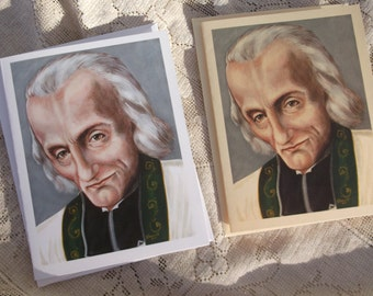 St.John Marie Vianney Stationary Note Cards with Envelopes on White and Ivory Card Stock taken from Original Arcylic Painting