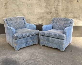 Pair of Wide Blue Velvet Club Chairs