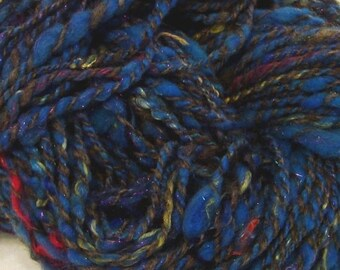 BACK-TO-WORK Sale Handspun Bulky Yarn Blue Gypsy Bulky Art Yarn  - 112 yds Bulky weight /Skein 1