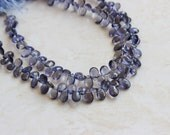 Iolite Gemstone Briolette Faceted Teardrop Pear Top Drilled 9 to 10mm 18 beads