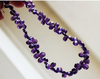 Clearance SALE Amethyst Briolette Gemstone Purple Faceted Teardrop Pear 6 to 6.5mm 30 beads