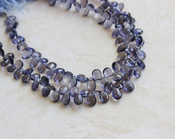 Iolite Gemstone Briolette Faceted Teardrop Pear Top Drilled 6.5 to 7.5mm 28 beads 1/2 strand