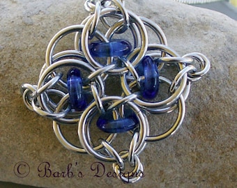 Chainmaille Pendant With Blue Beads