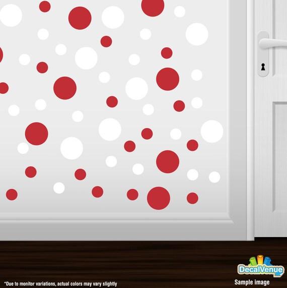Polka Circles Wall Decor : Set of red white vinyl polka dot wall decals circles