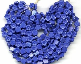 Vintage Nailhead Beads 7mm Flower Shape Opaque Blue 24 Pcs.