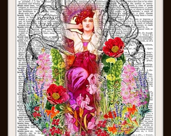 Blooming Human Anatomy~ Your Always on My Mind-Human Brain Organ- Digital Artwork- 8.5x11