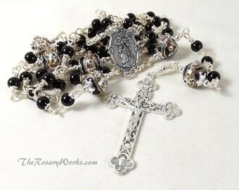 Mary Undoer of Knots Rosary Untier Black Wedding Cake Beads Onyx Trinity Crucifix Wire Wrapped Unbreakable Traditional Catholic Pope Francis