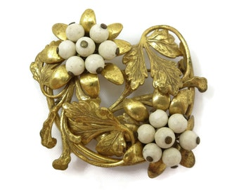 Beaded Flower Brooch - Brass, Wood Beads, 1930s Costume Jewelry