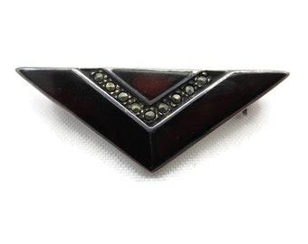 Art Deco Brooch - Sterling Silver, Red Enamel, Marcasite Jewelry