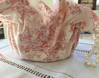 Pink and Cream Toile Central Park Large Jewerly Pouch