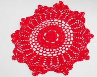 Vintage Hand Made  Red Doilie