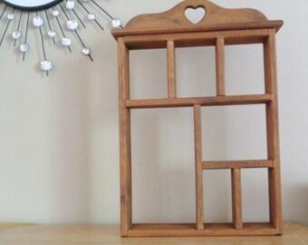 Large Vintage Wood Shadowbox Curio Shelf