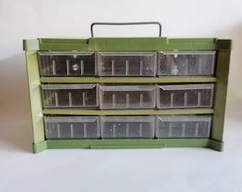 Vintage Plastic Metal  Storage Bin Office Garage Craft Jewelry Organizer