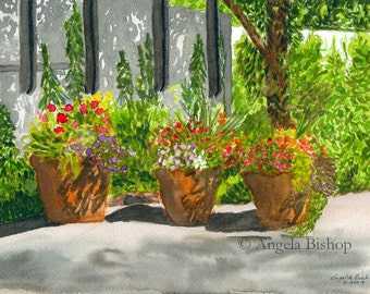 Flower Pots Painting Print, Sunny Day Shadows, Flowers, Watercolor Painting Print, Fine Art, Home Decor, 5 x 7, Giclee