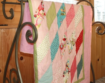 Girl Baby Quilt, Toddler Blanket, Crib Bedding, Sophie, Pink, Fun, Green