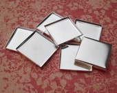 20mm Sterling Silver Plated Square Low Wall Bezel Settings for Flat Back Cabs, Fimo, Mosaic or Clear Glass Photo Tiles (6 pieces)