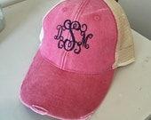 Monogrammed trucker distressed cap