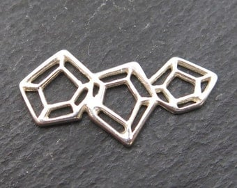 Sterling Silver Geometric Cluster Connector 21mm (CG8560)