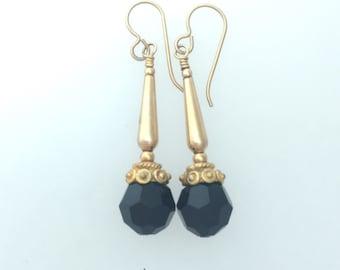 Black Swarovski Jet and 14ct Gold Fill Earrings #2