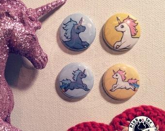 Unicorn Pinback Button // Cute Retro // Colorful // Assorted Designs