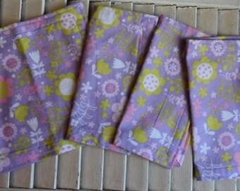 """Set of 4 8"""" Flannel Cloth Napkins, Wipes, Un Paper Napkins  Light Purple Floral Print"""