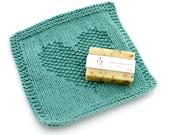 Knitted Cotton Bath Cloth. Green. Washcloth.
