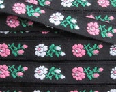 Hungary Embroidered Jacquard Trim 1/2 Inch Wide 2 Yards Folk Costume Trim Black White Pink Green  HFT 52