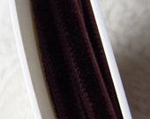 10 Yards Czech Republic 2 Yards Tiny Rayon Velvet Ribbon Trim Dark Brown 5mm Wide 3/16th Inch Very Narrow Wholesale Lot
