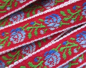 3-5/8 Yards Vintage Japan Floral Trim Jacquard Ribbon Red With Blue Roses Flowers Very Nice Quality BD 126