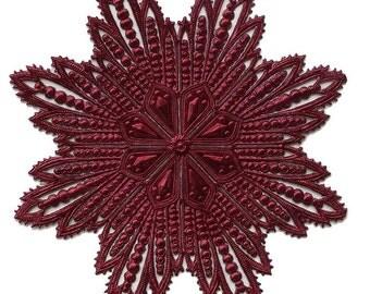 Dresdens Germany  Paper Foil Die Cut Burgundy Filigree Snowflake DF 8020 BU