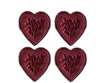 Made In Germany 20 Burgundy Foil Dresden Embossed Hearts DF 760 BU