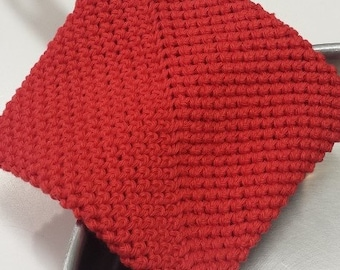 Pot Holder (One), Crocheted, Double Thick for Extra Protection -- Red