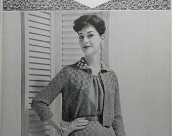 Vintage Original 1950s BUCILLA Ruban d'Art Ribbon Knitting Crochet Pattern R-1007 JACKET and SKIRT