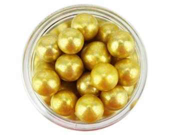 Gold Dragees 8mm 1oz - shiny metallic gold sugar pearls sprinkles balls for topping cakes, cupcakes, cookies, and cake pops