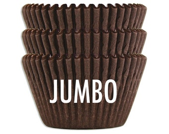 Jumbo Solid Deep Brown Baking Cups - 45 solid chocolate brown extra large paper cupcake liners