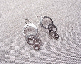 Brushed Silver Multi Circle Earrings