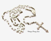 Vintage Rosary Necklace, White Glass Beads