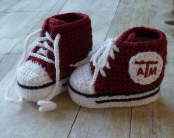 Custom Crochet Baby Texas A and M Converse Booties