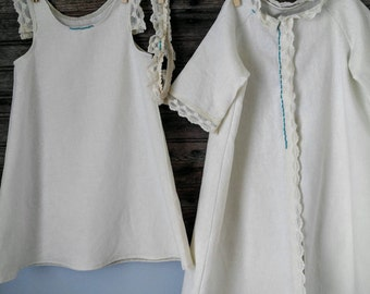 ORGANIC Hemp Christening or Wedding Baby Gown With Jacket, 3 piece set, 6mo to 18mo