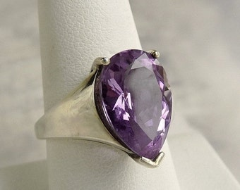 Mid Century Sterling Silver Amethyst Ring Size 8