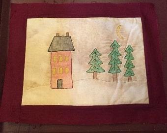 House with Trees Stitchery E-Pattern