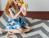 Gray White Chevron Print Area Rug for Blythe Momoko Pullip Barbie Fashion Royalty Doll House