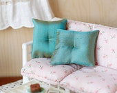1:6 Scale Pillows Metallic Green Fabric Miniature Blythe Momoko Pullip Barbie Fashion Royalty Doll House